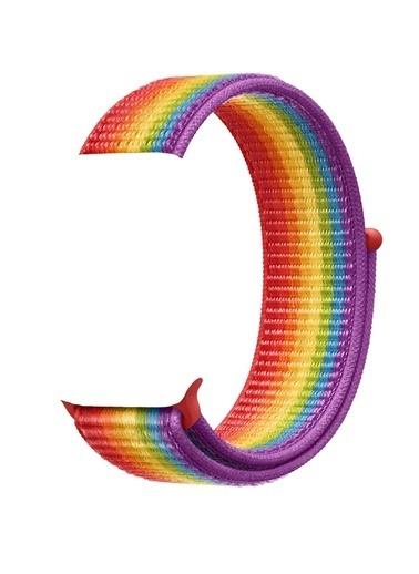 Jacobson Apple Watch 42-44 mm Spor Cırtcırtlı Kumaş Kordon Kayış Renkli